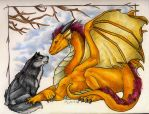 Dragon and Wolf by Dragonmistral