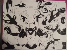 Lucario collage by BlueLightningStrike