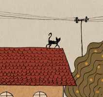 The cat on the roof. by Purple-Sun