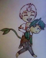 Chibi Friends Commission: Cas and Mason by CaptainAsche
