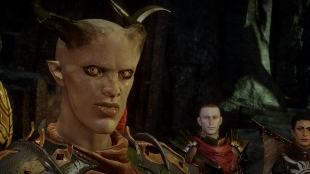 Inquisitor Adaar and Hawke by Son-of-Torgo