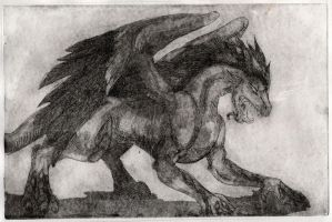 Astral Wyrm Etching by rainsingingdragon