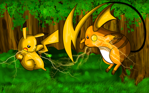 Pikachu Vs. Raichu Colored by JamalC157