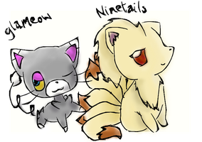 Ninetails and Glameow by Kat-The-Piplup