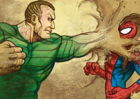 Daily Sketches Sandman vs Spiderman by fedde