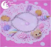 Pastel cute cookie bear Bracelet By Moonbunny by CuteMoonbunny
