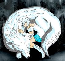 my wolf form and human form by Angels-little-helper