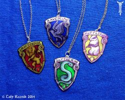 Hogwarts Houses Pendants by TrollGirl