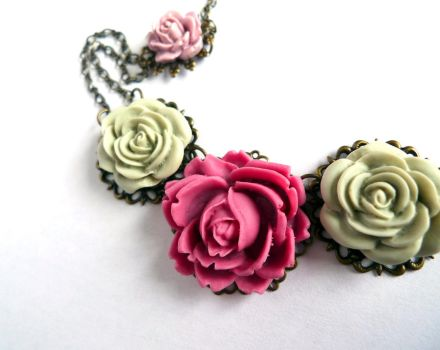 Romantic Pastel Rose Necklace by Modrn