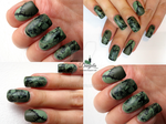 Frankenstein inspired nail art by Danijella