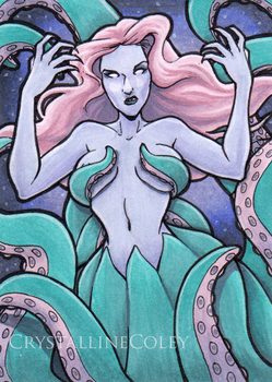 Tentacle Queen ACEO by CrystallineColey