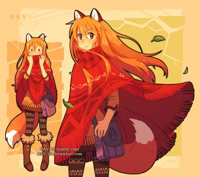 Fox and poncho by DAV-19