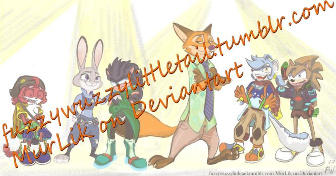 COMMISSION Sonic based characters and Zootopia by MurLik