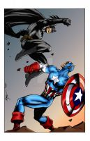 Batman vs Captain America by MC Wyman by THE-Darcsyde