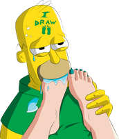 Homer Simpson LOVES feet by iDrawFeet