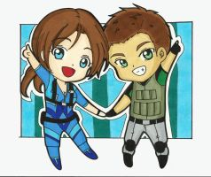Cute Chibis part 2 : Chris and Jill by LeonandClaireBSAA