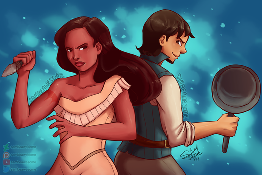 Pocahontas and Flynn by sambeawesome