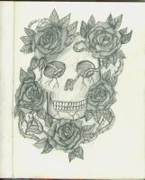 Skull With Roses by 12KathyLees12