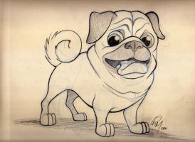 Pug Cartoon Sketch by timmcfarlin