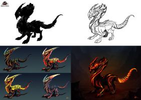 Lava Dragon Cub Development by SquashAndSketch