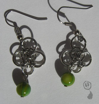 Chainmaille and Cat's Eye Glass Earrings by Amif