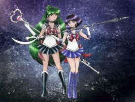 Sailor Pluto + Sailor Saturn by sakkysa