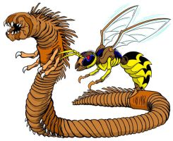 Mutant Cave Worm and Wasp by kaijuverse