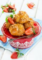Profiteroles with nuts and strawberries by BeKaphoto
