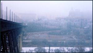 Misty Bridge: Edmonton by AaronPaquette