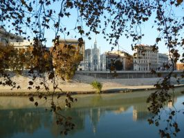 Tevere, Plane Trees and a Gothic Church by ShinyShade1985