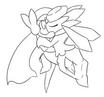 Diancie's Sweet Kiss :Lineart: by Xero-J