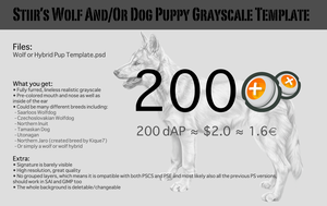 Stiir's Wolf And/Or Dog Puppy Grayscale Template by Stiir