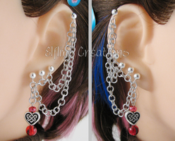 Silver and Red Heart Cartilage Chain Earrings by merigreenleaf