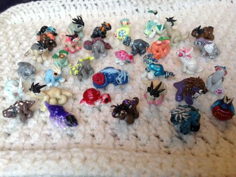 All of my finished Dragon Babies! by Gold-Heart-Clay