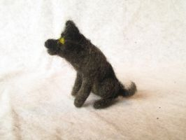 Merriv the Needle Felt Tiny Wolf Doll by shadechristiwolven