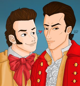 LeFou and Gaston by fishkybuns