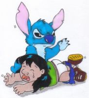 Stitch Spanking Lilo by Krypto451