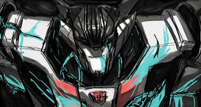 Wheeljack - out with a smile by rabbitzoro