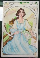Art Nouveau Disney: Belle by vintagepearls