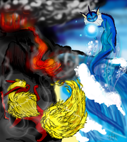 Eeveelution: Water and Fire by necrisidragon