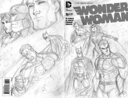 Superman batman wonder woman sketch cover pencils by JoeyVazquez