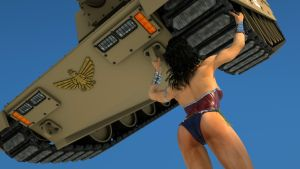 Wonder Woman lifts a tank up high by DahriAlGhul