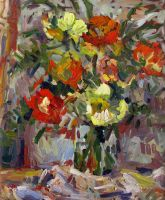 A Bouquet of Roses in a Square Vase by Art-deWhill