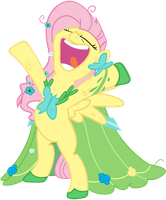 Fluttershy at the Gala by Mihaaaa