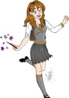 Hermione Skipping coloured by Shmivv