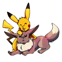 eevee and pikachu by mechanicalmasochist