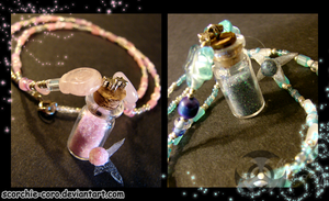 Fairy Bottle Necklaces by Scorchie-Critter