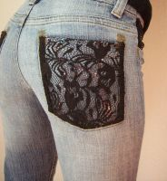 BLACK LACE ON JEANS II by FRANTASEE