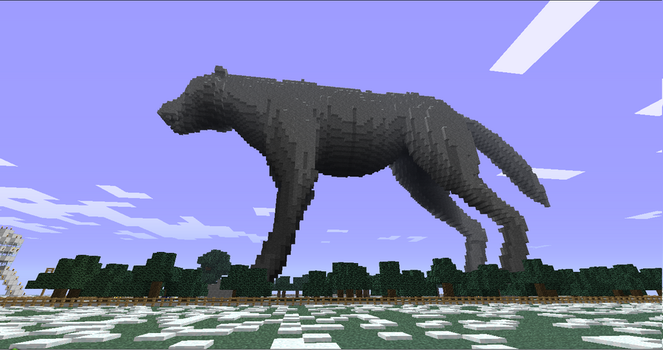 Giant minecraft wolf side view by Draknar1995
