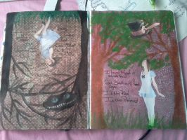 Art journal:pages 10 11 alice by Notebook-Queen